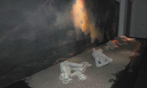 Pompéi, moulage de victimes de l'éruption du Vésuve .