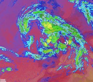 Image satellite au plus fort du cyclone cévenol
