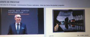 Vente aux enchères  d'exception pour une peinture  de Bernard Buffet datée de 1982.  vente menée par le commissaire priseur   Bertrand de Latour. Copie d'écran/Interenchères